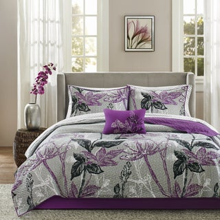 Madison Park Essentials Nicolette Purple Complete Cal-King Size Coverlet Set in Purple (As Is Item)