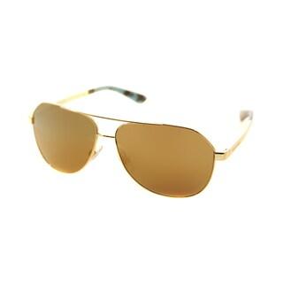 Dolce & Gabbana DG 2144 02/F9 Gold Metal Aviator Gold Mirror Lens Sunglasses