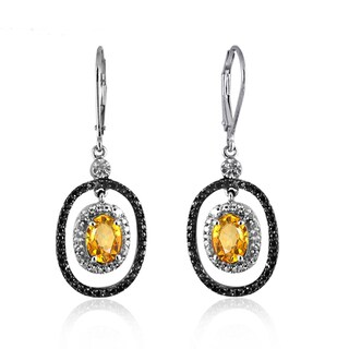 Jewelonfire Sterling Silver 2 1/5ct TGW Citrine and Diamond Accent Earrings