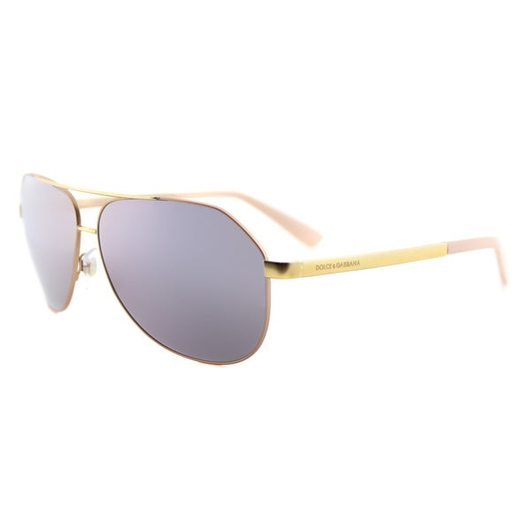 254dd8ff197 Dolce  amp  Gabbana DG 2144 12945R Matte Pink Gold Metal Aviator Pink  Mirror Lens Sunglasses