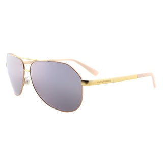 Dolce & Gabbana DG 2144 12945R Matte Pink Gold Metal Aviator Pink Mirror Lens Sunglasses