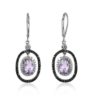 Jewelonfire Sterling Silver 2 1/6ct TGW Pink Amethyst and Diamond Accent Earrings