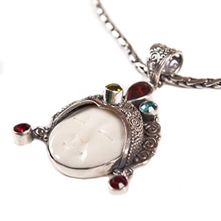 Handmade Ox Bone and Gemstones Pendant Silver Chain Necklace (Indonesia)