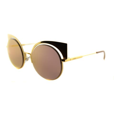 Fendi FF 0177 001 Eyeshine Yellow Gold Metal Cat-Eye Gold Mirror Lens Sunglasses