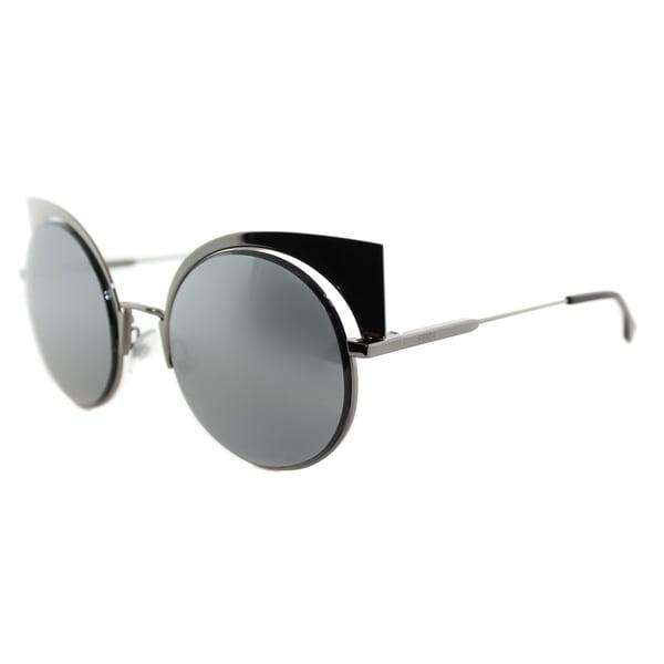 e9e734b7e32 Fendi FF 0177 KJ1 Eyeshine Dark Ruthenium Metal Cat-Eye Black Mirror Lens  Sunglasses