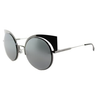 Fendi FF 0177 KJ1 Eyeshine Dark Ruthenium Metal Cat-Eye Black Mirror Lens Sunglasses