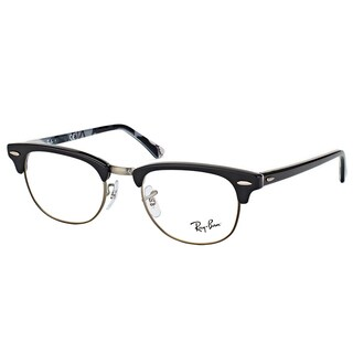 Ray-Ban RX 5154 5649 Clubmaster Black Plastic 49-millimeter Logo Eyeglasses