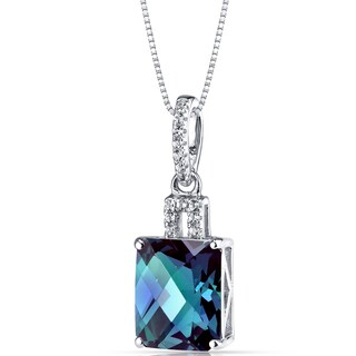 Oravo 14k White Gold Radiant-cut Gemstone Pendant (Option: 3.75 ct Created Alexandrite)