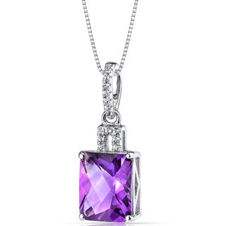 Oravo 14k White Gold Radiant-cut Gemstone Pendant