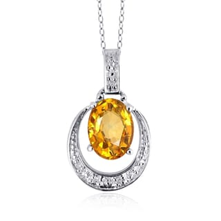 Jewelonfire Sterling Silver 1 1/10ct TGW Citrine and Diamond Accent Pendant
