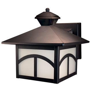 Heath Zenith Oil Rubbed Bronze Metal Motion Activated Wall Lantern Motion-Sensing LED 120 volts