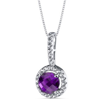 Oravo 14k White Gold Halo Gemstone Pendant Necklace (Option: 1 ct Created Alexandrite)
