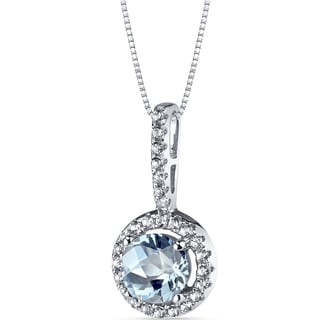 Oravo 14k White Gold Halo Gemstone Pendant Necklace