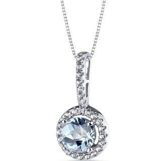 Oravo 14k White Gold Halo Gemstone Pendant Necklace