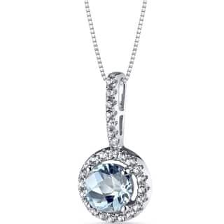 Oravo 14k White Gold Halo Gemstone Pendant Necklace|https://ak1.ostkcdn.com/images/products/12369876/P19195455.jpg?impolicy=medium