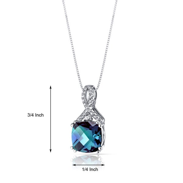14k White Gold Over 925 sterling silver Alexandrite Cushion Cut Halo Pendant