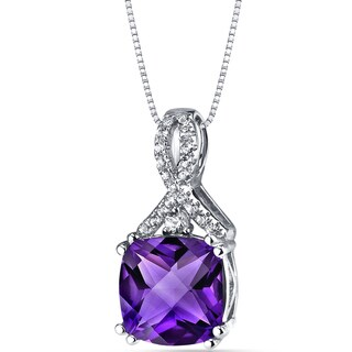 Oravo 14k White Gold Ribbon Design Cushion Cut Gemstone Pendant Necklace