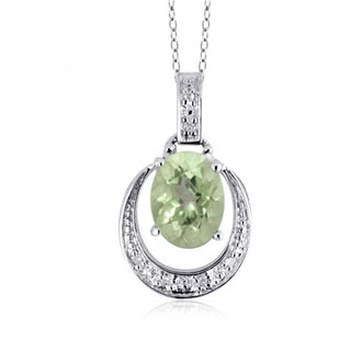 Jewelonfire Sterling Silver 1 1/3ct TGW Green Amethyst and Diamond Accent Pendant