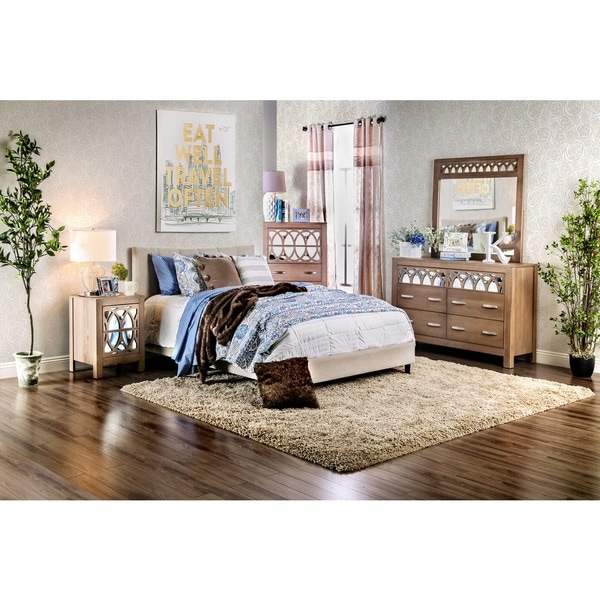 Furniture of america mistelle contemporary linen like for Furniture of america bed reviews