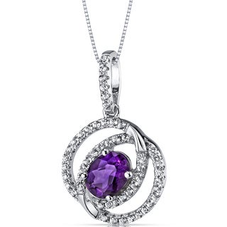 Oravo 14K White Gold Dual Halo Design Gemstone Pendant