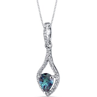 Oravo 14k White Gold Tear Drop Gemstone Pendant Necklace (Option: 1 ct Created Alexandrite)