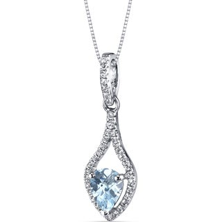 Oravo 14k White Gold Tear Drop Gemstone Pendant Necklace (More options available)