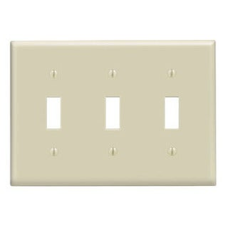 Leviton 001-86011-IV Triple Gang Ivory Triple Toggle Wallplate