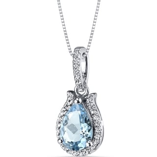 Oravo 14K White Gold Open Halo Tear Drop Gemstone Pendant