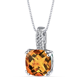 Oravo 14K White Gold Cushion Checkerboard Cut Gemstone Pendant