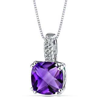 Oravo 14K White Gold Cushion Checkerboard Cut Gemstone Pendant