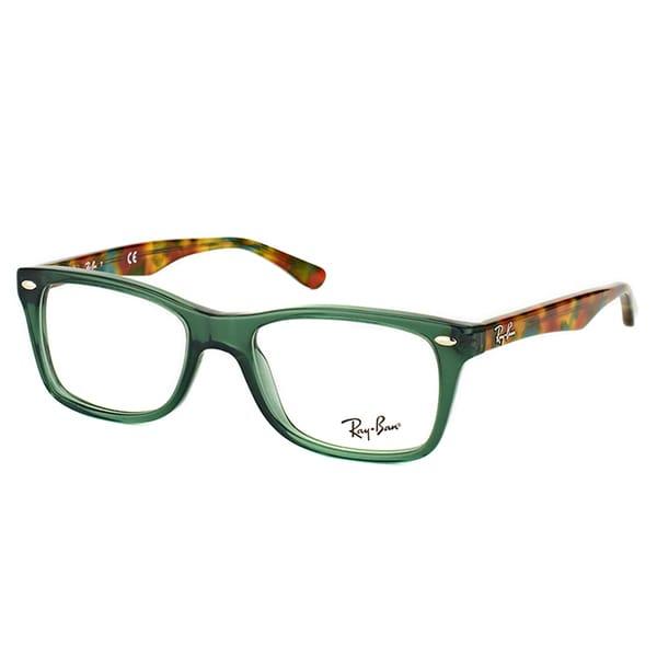140b1f745a383 Shop Ray-Ban RX 5228 5630 Green Plastic Rectangle Eyeglasses - Free ...