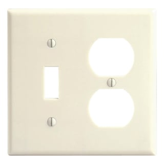 Leviton 001-86005-IV Double Gang Ivory Toggle & Duplex Receptacle Wallplate