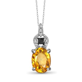 Jewelonfire Sterling Silver 1 1/10ct TGW Citrine and Black Diamond Pendant