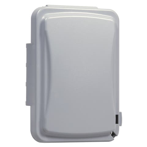 TayMac Rectangle Plastic 1 gang Receptacle Box Cover For Protection from Weather Gray