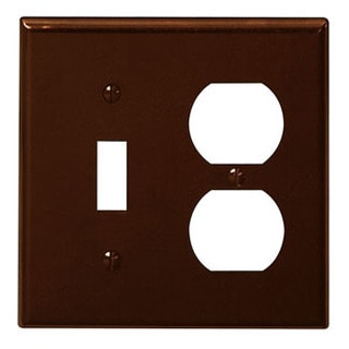 Leviton 001-85005 Double Gang Brown Toggle & Duplex Receptacle Wallplate