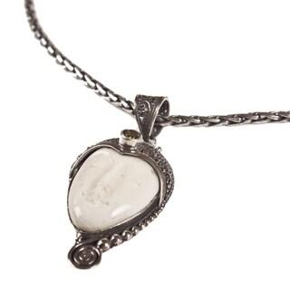 Handmade Ox Bone Pendant Silver Chain Necklace (Indonesia)