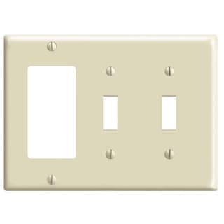 Leviton 001-80421-00I Ivory 3-Gang Combination Wall Plate