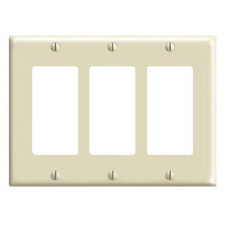 Leviton 001-80411-I Three Gang Ivory 3-Decora Rocker Wall...