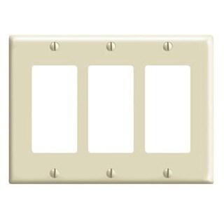 Leviton 001-80411-I Three Gang Ivory 3-Decora Rocker Wallplate
