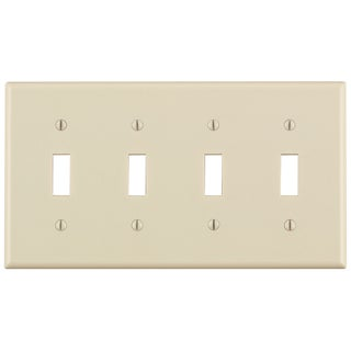 Link to Leviton 000-78012-000 Light Almond 4 Gang Toggle Switch Wall Plate Similar Items in Electrical