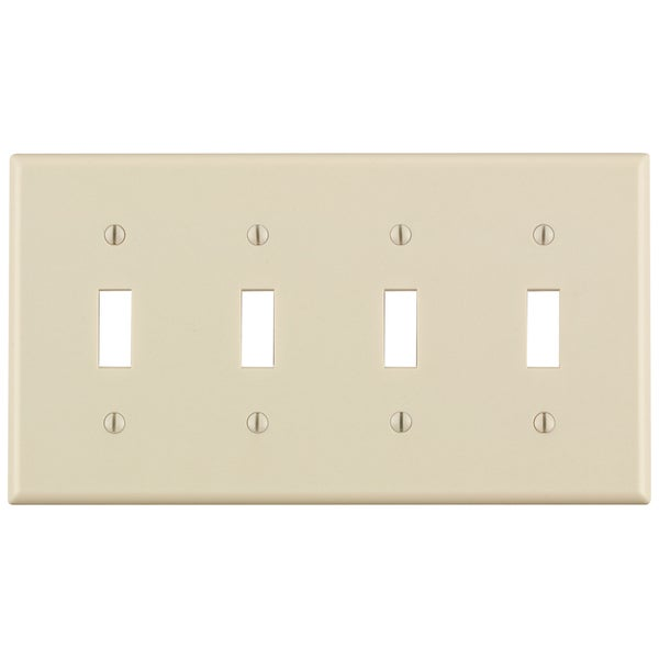 Leviton 000-78012-000 Light Almond 4 Gang Toggle Switch Wall Plate. Opens flyout.