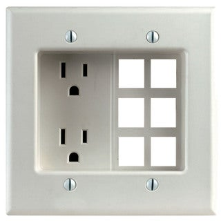 Leviton 012-00690-00W W Decora Residential Recessed 2 Gang Duplex Receptacle Box