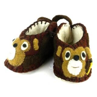 Handcrafted Felt Monkey Zooties Baby Booties (Kyrgyzstan)