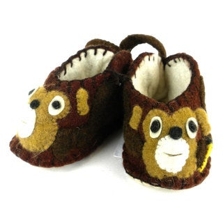 Handmade Felt Monkey Zooties Baby Booties (Kyrgyzstan)