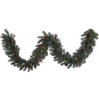 Vickerman 9-foot x 14-inch Wesley Mixed Pine Garland With 50 Clear Lights