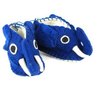 Handmade Felt Blue Elephant Zooties Baby Booties (Kyrgyzstan)