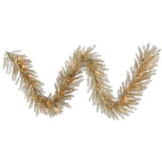 Vickerman Champagne 9-foot x 14-inch Tinsel Garland With 50 Clear Lights