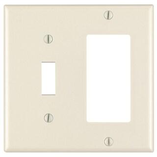 Leviton 007-80405-00T Almond 2 Gang 1 Toggle & 1 Decora Combination Wall Plate