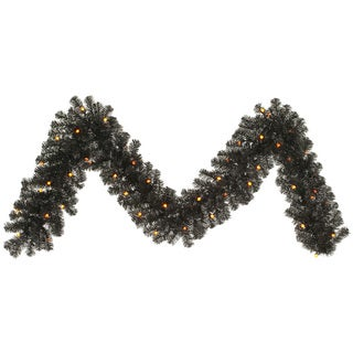 Vickerman Black 9-foot x 12-inch Garland With 50 Orange LED Lights