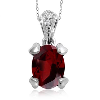 Jewelonfire Sterling Silver 1 5/8ct TGW Garnet and Diamond Accent Pendant